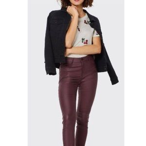 Rock and Republic Burgundy Wax Coated Berlin Jeans